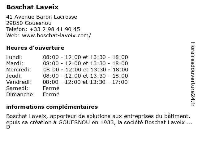 Boschat Laveix à Gouesnou: adresse et heures d'ouverture