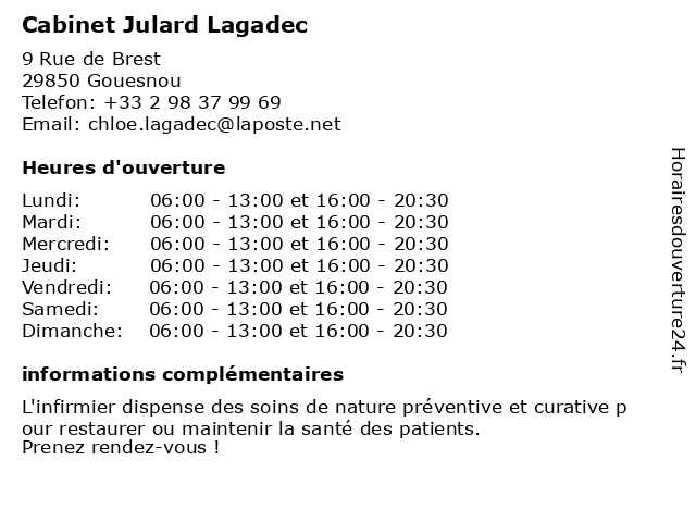Cabinet Julard Lagadec à Gouesnou: adresse et heures d'ouverture
