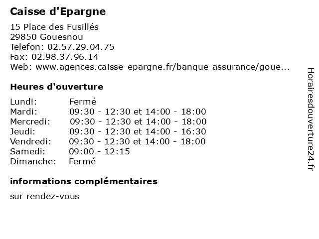 Caisse d'Epargne à Gouesnou: adresse et heures d'ouverture