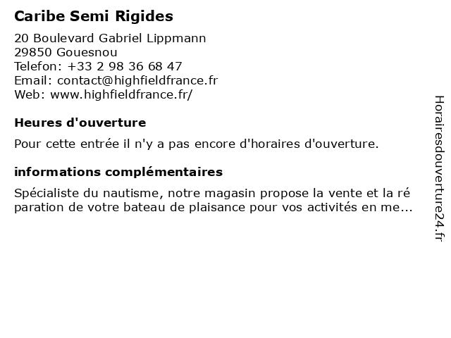 Caribe Semi Rigides à Gouesnou: adresse et heures d'ouverture
