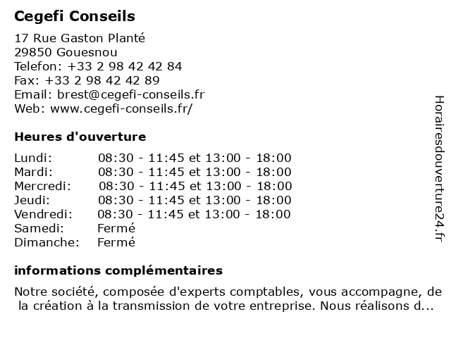 Cegefi Conseils à Gouesnou: adresse et heures d'ouverture
