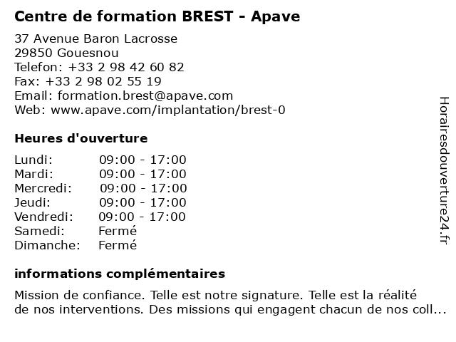 Centre de formation BREST - Apave à Gouesnou: adresse et heures d'ouverture