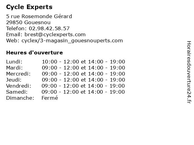Cycle Experts à Gouesnou: adresse et heures d'ouverture
