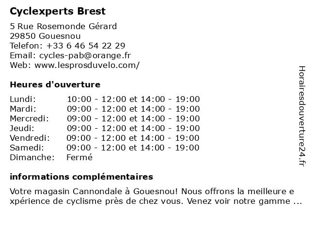 Cyclexperts Brest à Gouesnou: adresse et heures d'ouverture