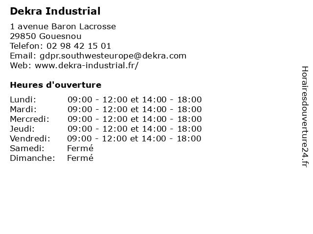 Dekra Industrial à Gouesnou: adresse et heures d'ouverture