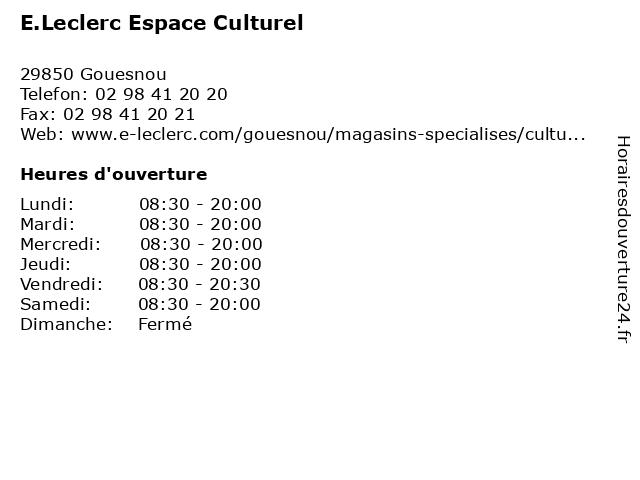 E.Leclerc Espace Culturel à Gouesnou: adresse et heures d'ouverture