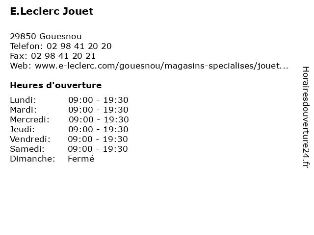 E.Leclerc Jouet à Gouesnou: adresse et heures d'ouverture