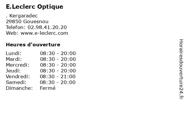 E.Leclerc Optique à Gouesnou: adresse et heures d'ouverture