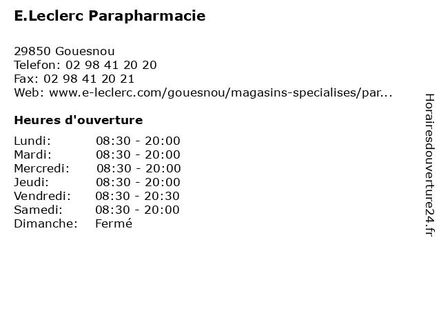 E.Leclerc Parapharmacie à Gouesnou: adresse et heures d'ouverture