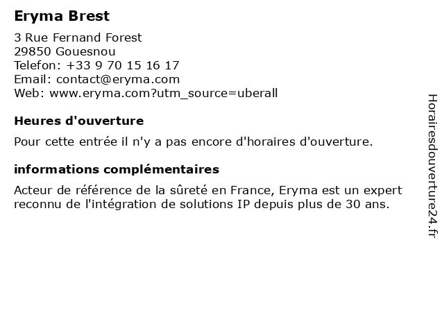 Eryma Brest à Gouesnou: adresse et heures d'ouverture