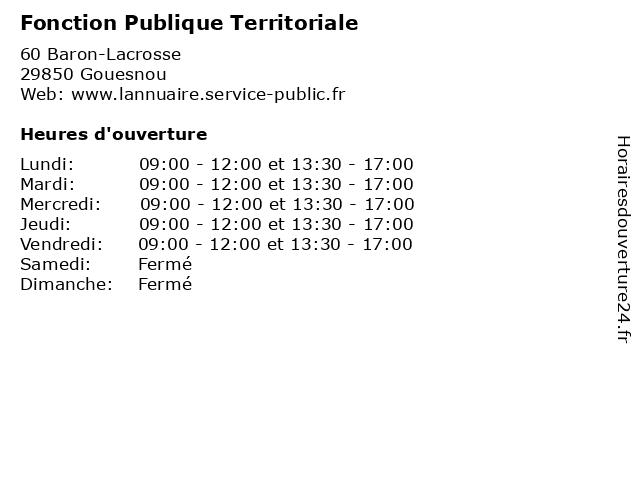 Fonction Publique Territoriale à Gouesnou: adresse et heures d'ouverture