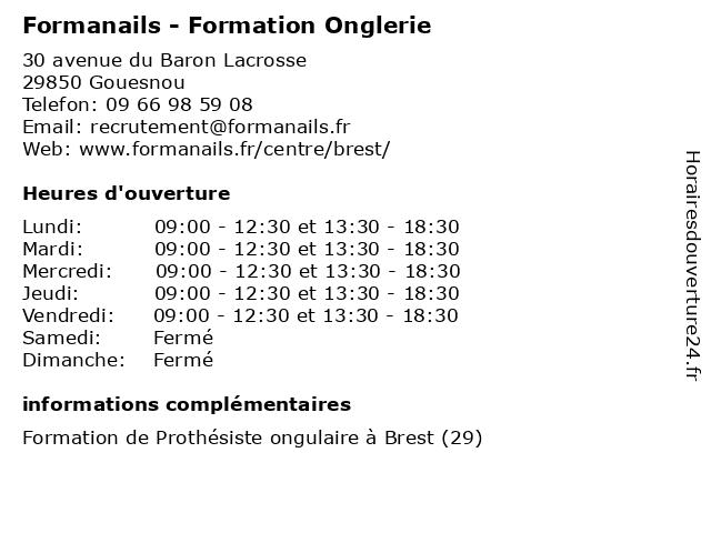 Formanails - Formation Onglerie à Gouesnou: adresse et heures d'ouverture