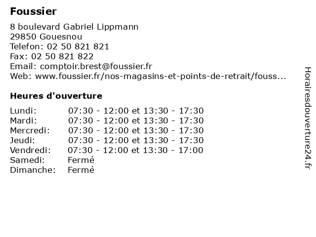 Foussier à Gouesnou: adresse et heures d'ouverture