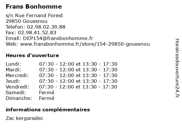 Frans Bonhomme à Gouesnou: adresse et heures d'ouverture