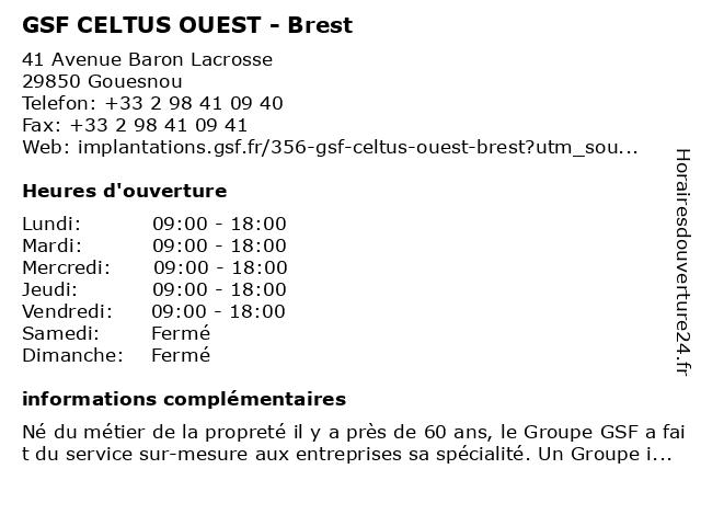 GSF CELTUS OUEST - Brest à Gouesnou: adresse et heures d'ouverture
