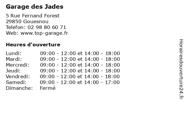 Garage des Jades à Gouesnou: adresse et heures d'ouverture