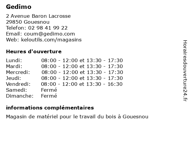 Gedimo à Gouesnou: adresse et heures d'ouverture