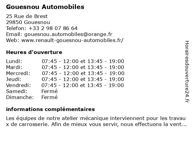 Gouesnou Automobiles à Gouesnou: adresse et heures d'ouverture