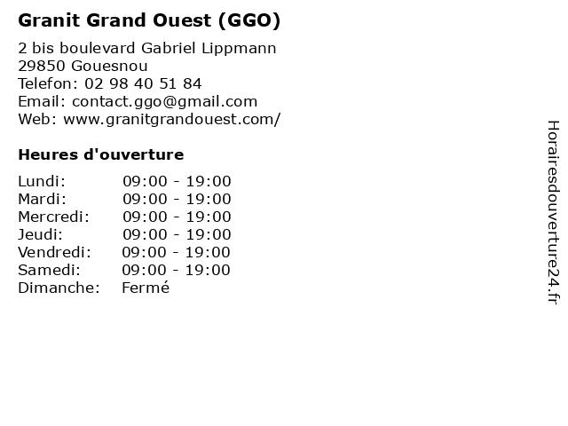 Granit Grand Ouest (GGO) à Gouesnou: adresse et heures d'ouverture