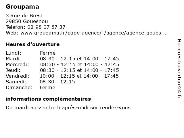 Groupama à Gouesnou: adresse et heures d'ouverture