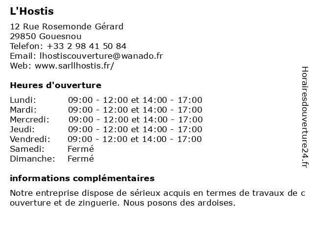 L'Hostis à Gouesnou: adresse et heures d'ouverture