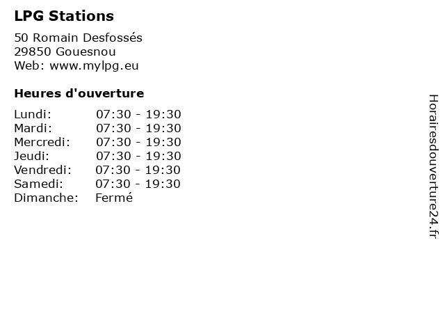 LPG Stations à Gouesnou: adresse et heures d'ouverture