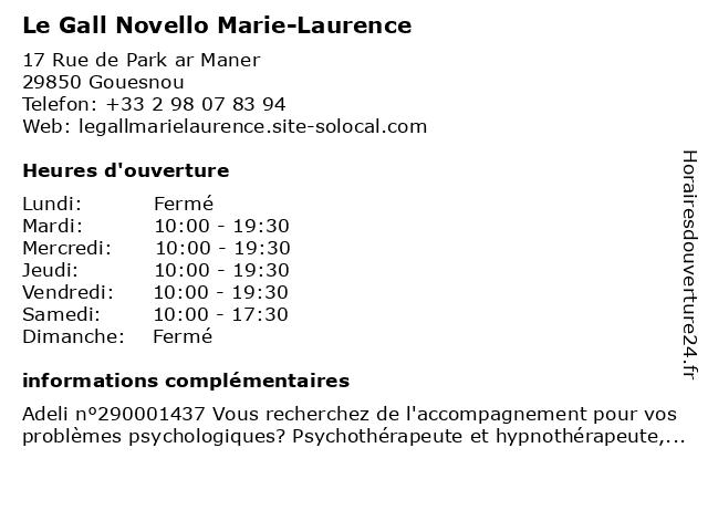 Le Gall Marie-Laurence à Gouesnou: adresse et heures d'ouverture