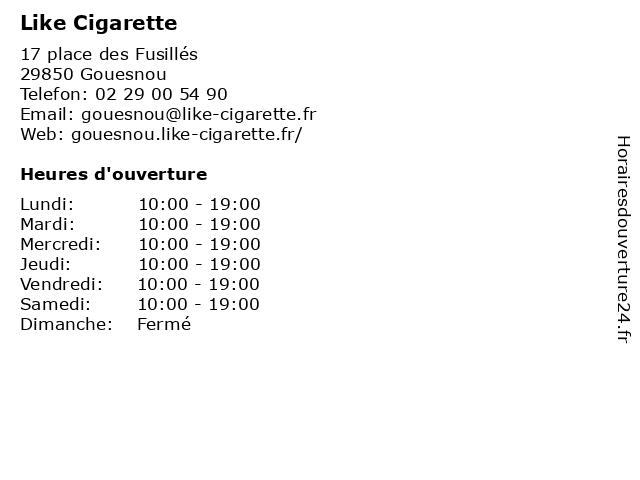 Like Cigarette à Gouesnou: adresse et heures d'ouverture