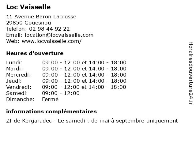 Loc Vaisselle à Gouesnou: adresse et heures d'ouverture