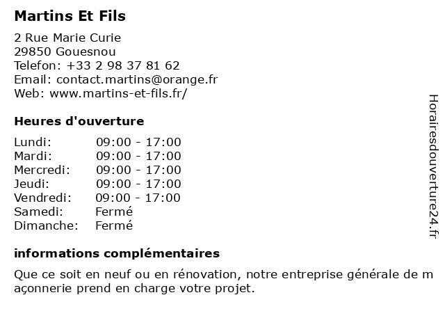 Martins Et Fils à Gouesnou: adresse et heures d'ouverture