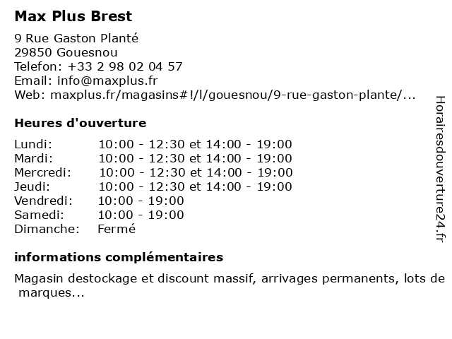 Max Plus Brest à Gouesnou: adresse et heures d'ouverture