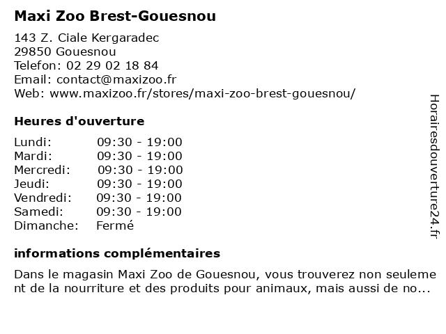 Maxi Zoo Brest-Gouesnou à Gouesnou: adresse et heures d'ouverture