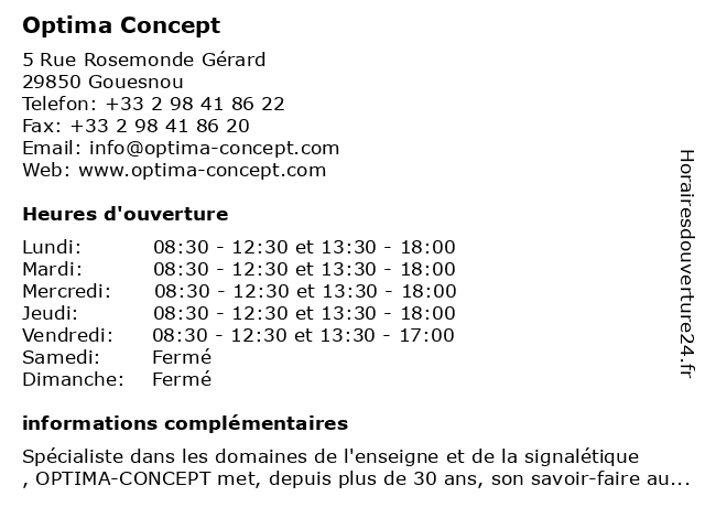 Optima Concept à Gouesnou: adresse et heures d'ouverture