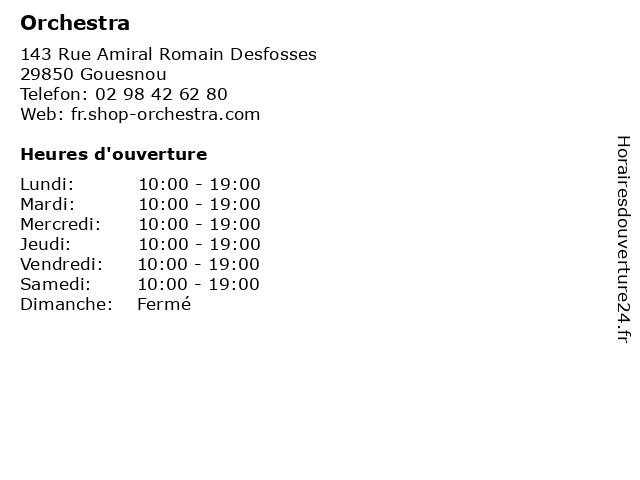 Orchestra à Gouesnou: adresse et heures d'ouverture
