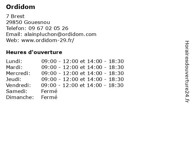 Ordidom à Gouesnou: adresse et heures d'ouverture