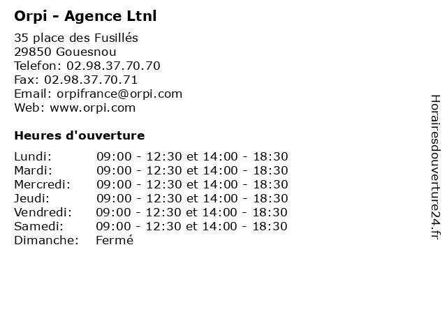Orpi - Agence Ltnl à Gouesnou: adresse et heures d'ouverture