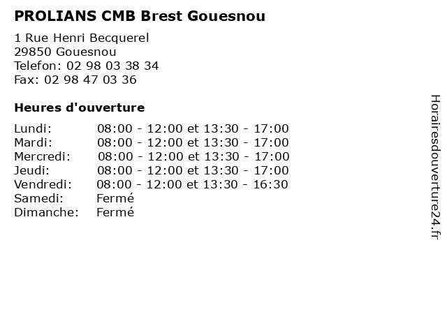 PROLIANS - CMB - Brest Gouesnou à Gouesnou: adresse et heures d'ouverture