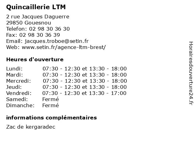 Quincaillerie LTM à Gouesnou: adresse et heures d'ouverture