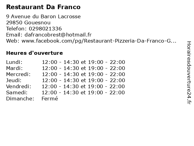 Restaurant Da Franco à Gouesnou: adresse et heures d'ouverture