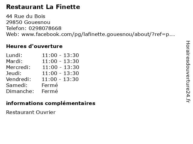 Restaurant La Finette à Gouesnou: adresse et heures d'ouverture