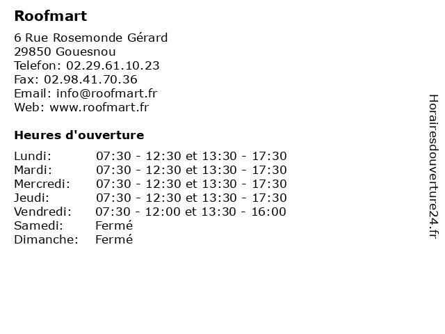 Roofmart à Gouesnou: adresse et heures d'ouverture