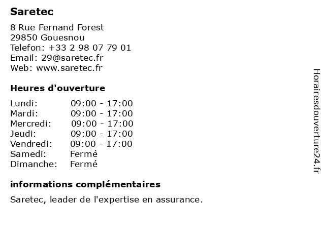 Saretec à Gouesnou: adresse et heures d'ouverture