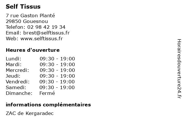 Self Tissus à Gouesnou: adresse et heures d'ouverture