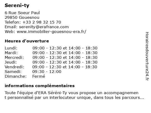 Sereni-ty à Gouesnou: adresse et heures d'ouverture