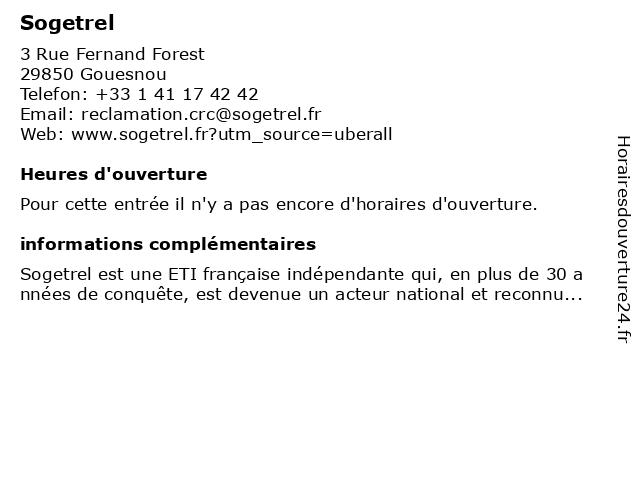 Sogetrel à Gouesnou: adresse et heures d'ouverture