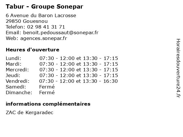 Tabur - Groupe Sonepar à Gouesnou: adresse et heures d'ouverture