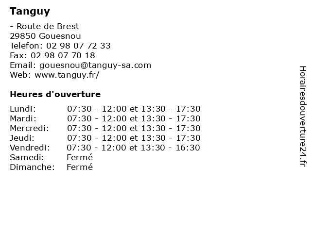 Tanguy à Gouesnou: adresse et heures d'ouverture