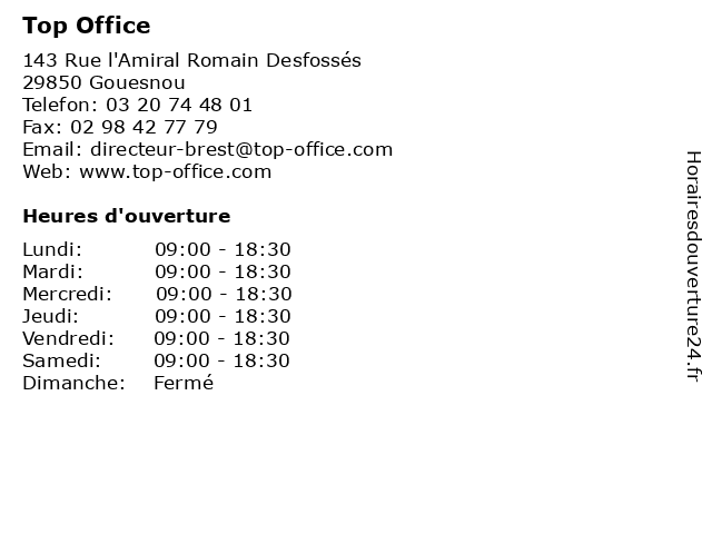 Top Office à Gouesnou: adresse et heures d'ouverture