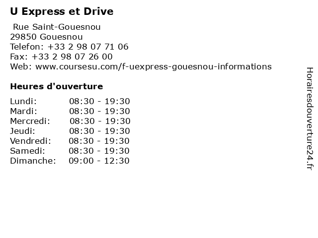U Express et Drive à Gouesnou: adresse et heures d'ouverture
