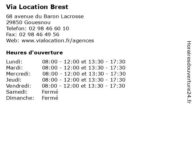 Via Location Brest à Gouesnou: adresse et heures d'ouverture